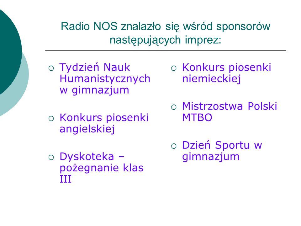 Radio NOS znalazło się wśród sponsorów następujących imprez:
