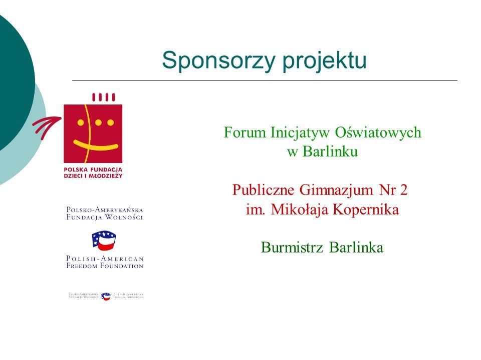 Sponsorzy projektu Forum Inicjatyw Oświatowych w Barlinku