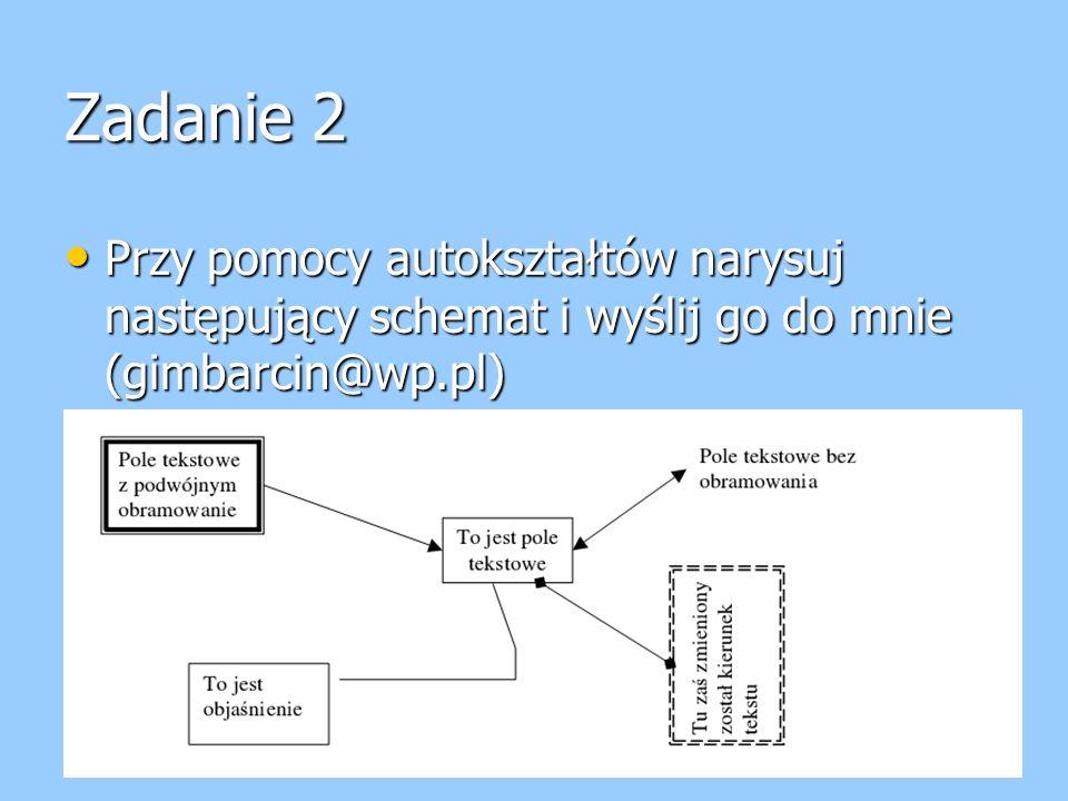 Zadanie 2 Przy pomocy autokształtów narysuj następujący schemat i wyślij go do mnie (gimbarcin@wp.pl)