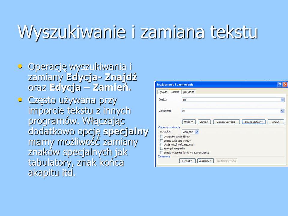 Wyszukiwanie i zamiana tekstu