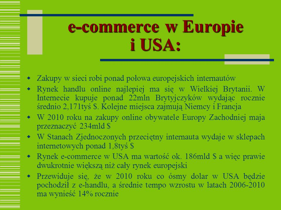 e-commerce w Europie i USA: