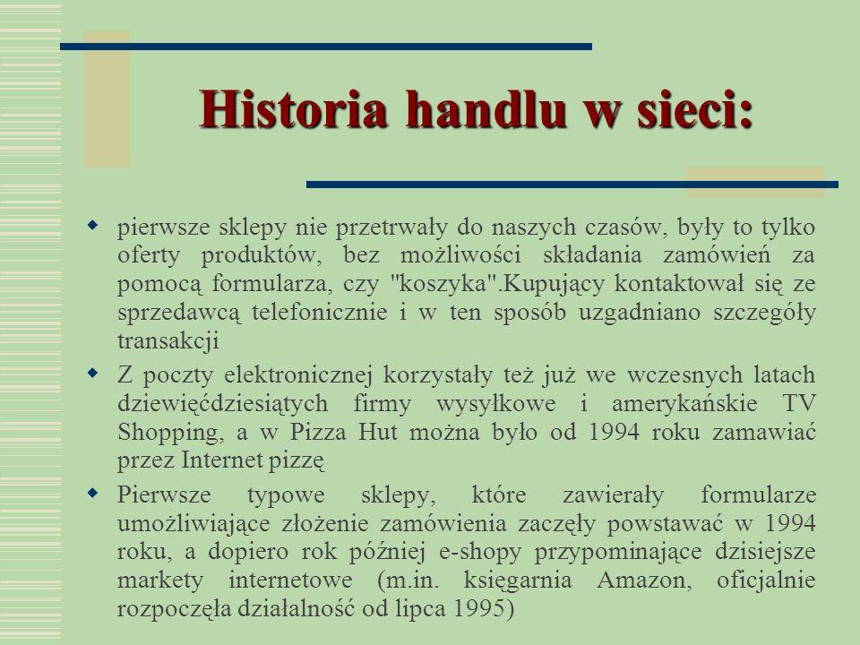 Historia handlu w sieci: