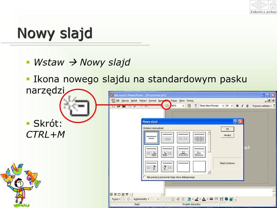 Nowy slajd Wstaw  Nowy slajd