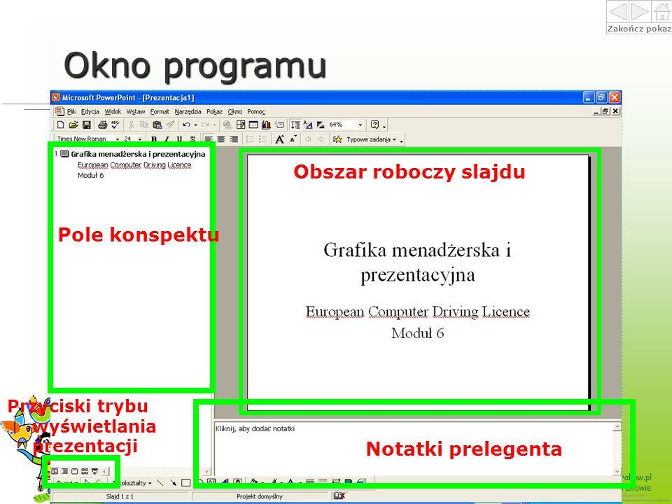 Okno programu Obszar roboczy slajdu Pole konspektu Notatki prelegenta