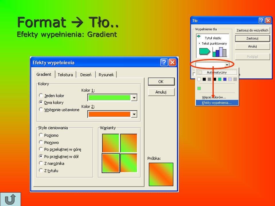 Format  Tło.. Efekty wypełnienia: Gradient