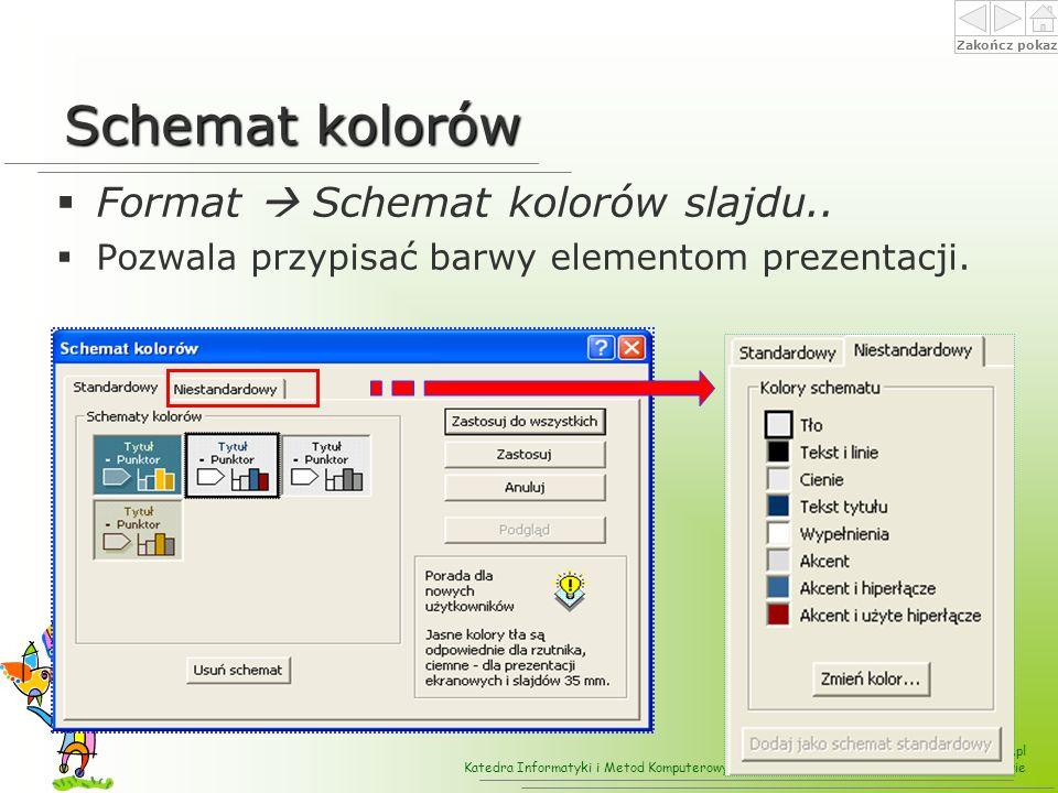 Schemat kolorów Format  Schemat kolorów slajdu..