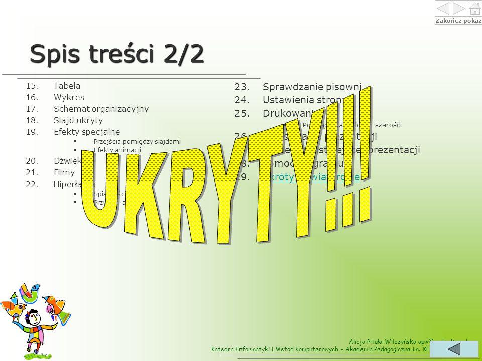 Spis treści 2/2 UKRYTY!!! Sprawdzanie pisowni Ustawienia strony
