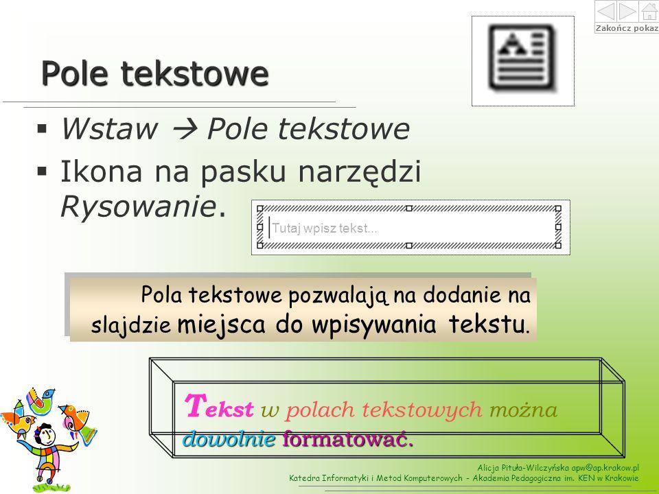 Tekst w polach tekstowych można dowolnie formatować.
