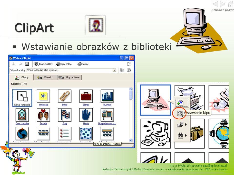 ClipArt Wstawianie obrazków z biblioteki