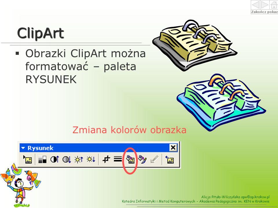 ClipArt Obrazki ClipArt można formatować – paleta RYSUNEK