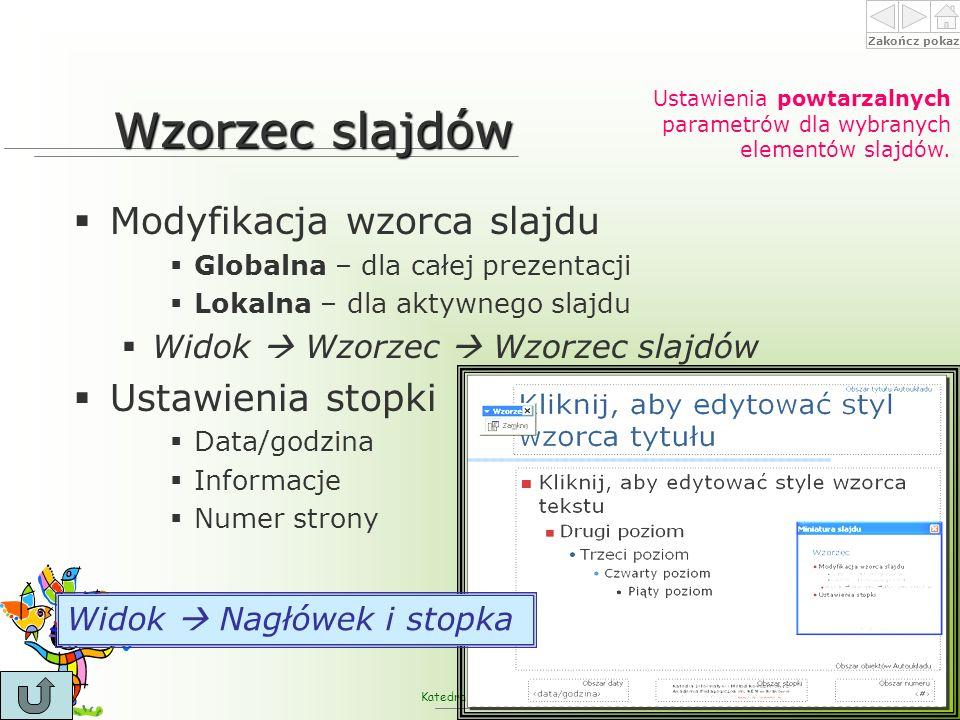 Wzorzec slajdów Modyfikacja wzorca slajdu Ustawienia stopki