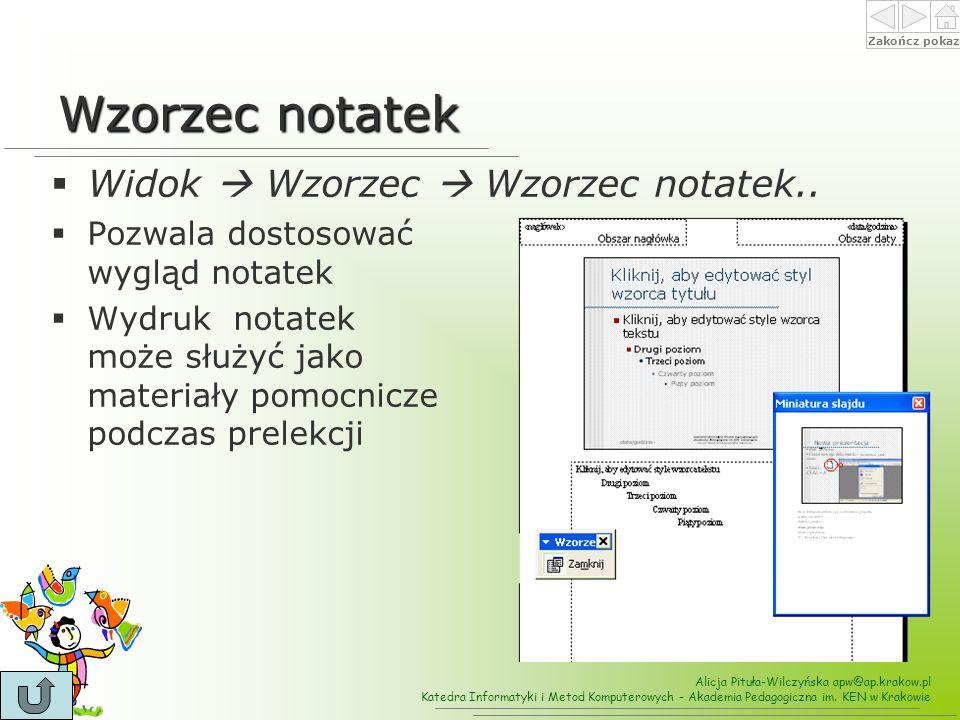 Wzorzec notatek Widok  Wzorzec  Wzorzec notatek..