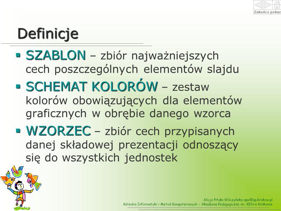 Definicje SZABLON – zbiór najważniejszych cech poszczególnych elementów slajdu.