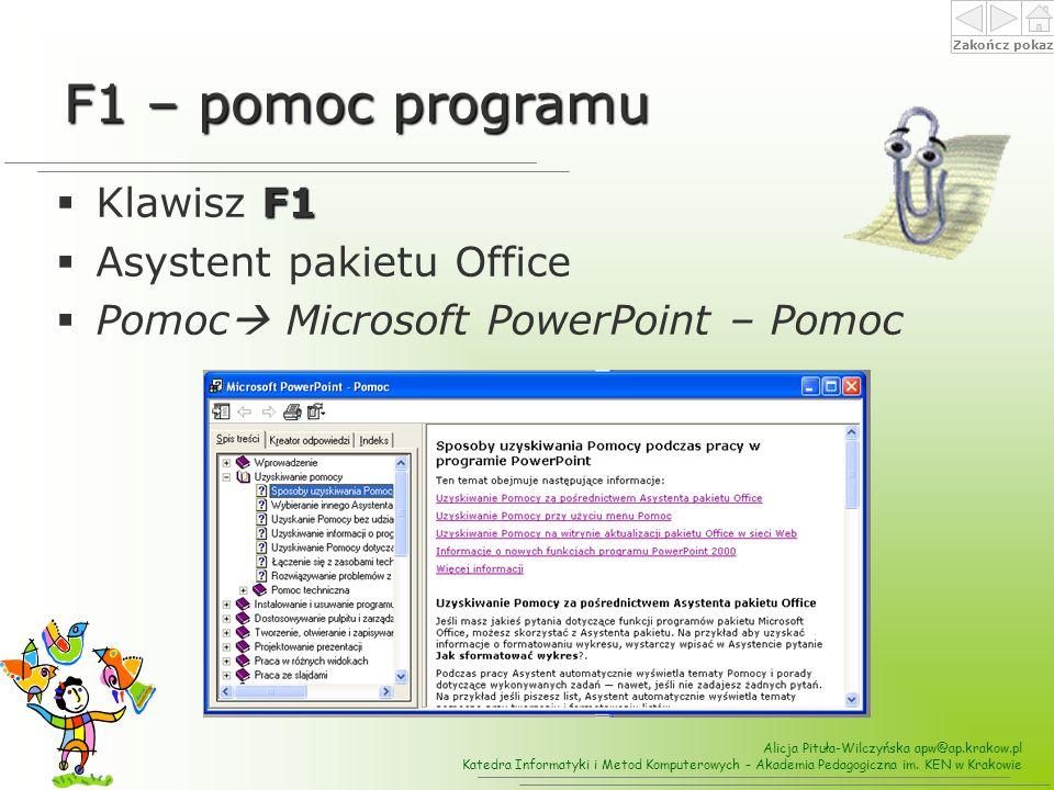 F1 – pomoc programu Klawisz F1 Asystent pakietu Office