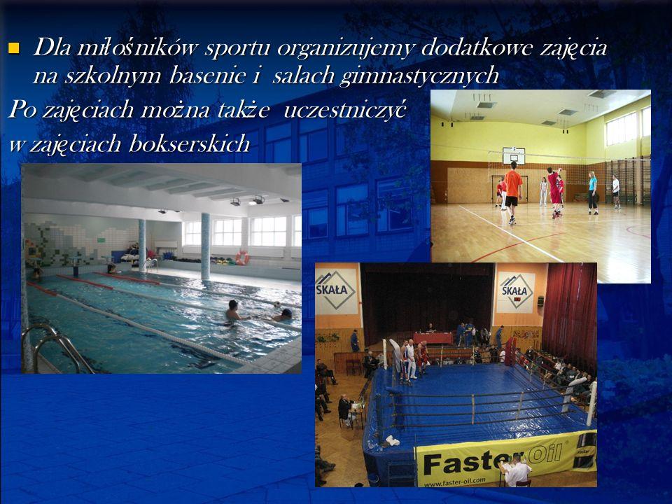 Dla miłośników sportu organizujemy dodatkowe zajęcia na szkolnym basenie i salach gimnastycznych