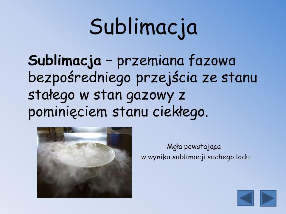 Sublimacja Sublimacja – przemiana fazowa bezpośredniego przejścia ze stanu stałego w stan gazowy z pominięciem stanu ciekłego.