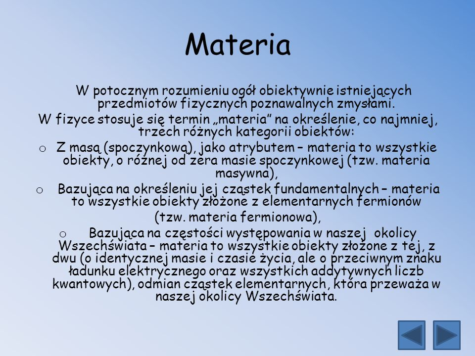 (tzw. materia fermionowa),