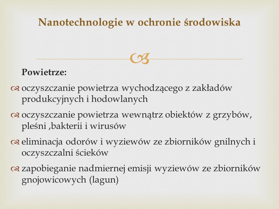Nanotechnologie w ochronie środowiska