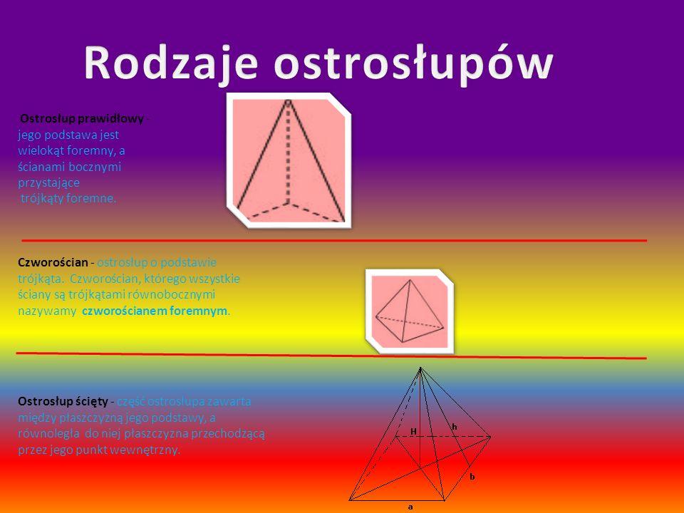 Rodzaje ostrosłupów Ostrosłup prawidłowy - jego podstawa jest wielokąt foremny, a ścianami bocznymi przystające trójkąty foremne.