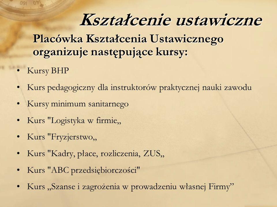 Placówka Kształcenia Ustawicznego organizuje następujące kursy: