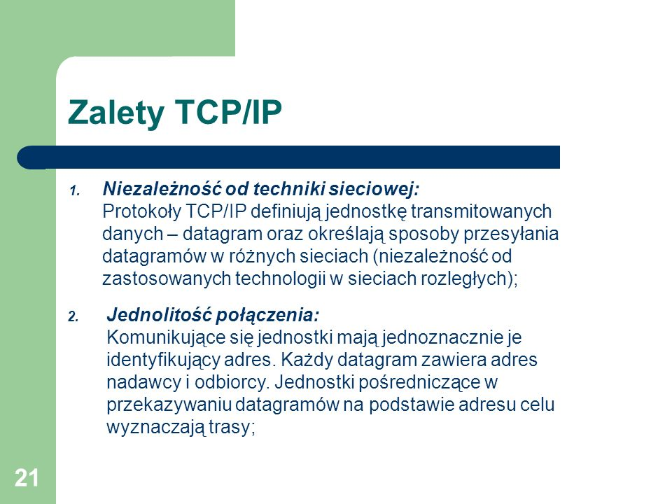 Zalety TCP/IP