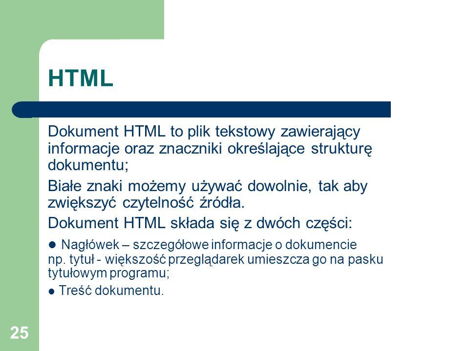 HTML Dokument HTML to plik tekstowy zawierający informacje oraz znaczniki określające strukturę dokumentu;