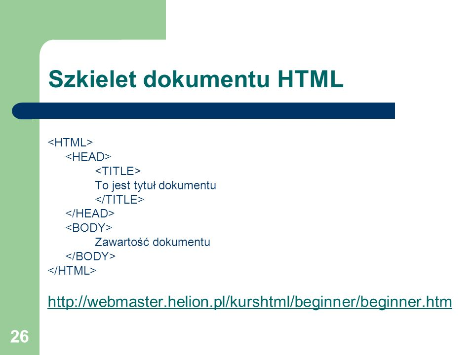 Szkielet dokumentu HTML