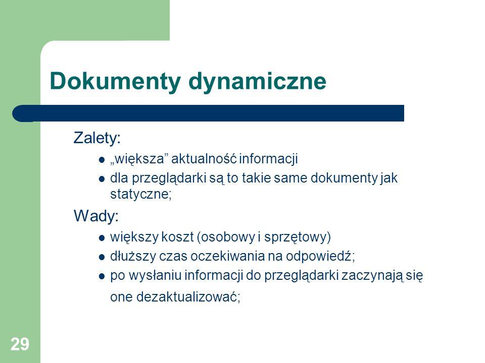 """Dokumenty dynamiczne Zalety: Wady: """"większa aktualność informacji"""