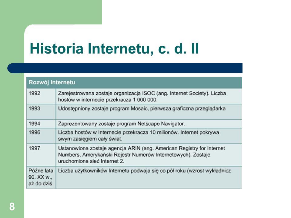 Historia Internetu, c. d. II