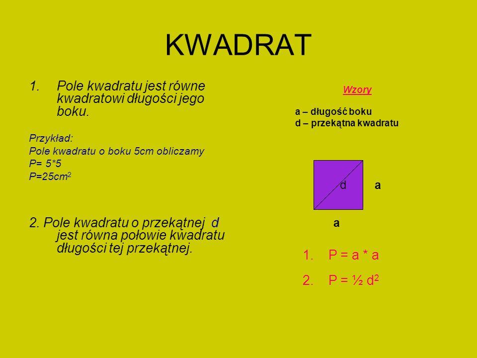 KWADRAT Pole kwadratu jest równe kwadratowi długości jego boku.