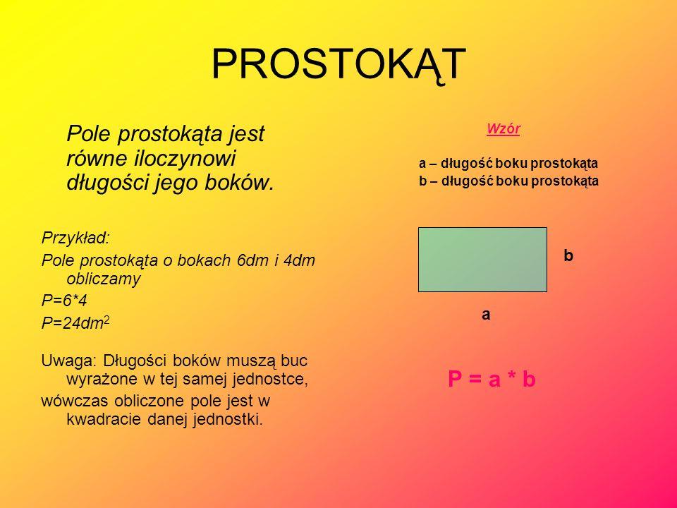 PROSTOKĄT Pole prostokąta jest równe iloczynowi długości jego boków.