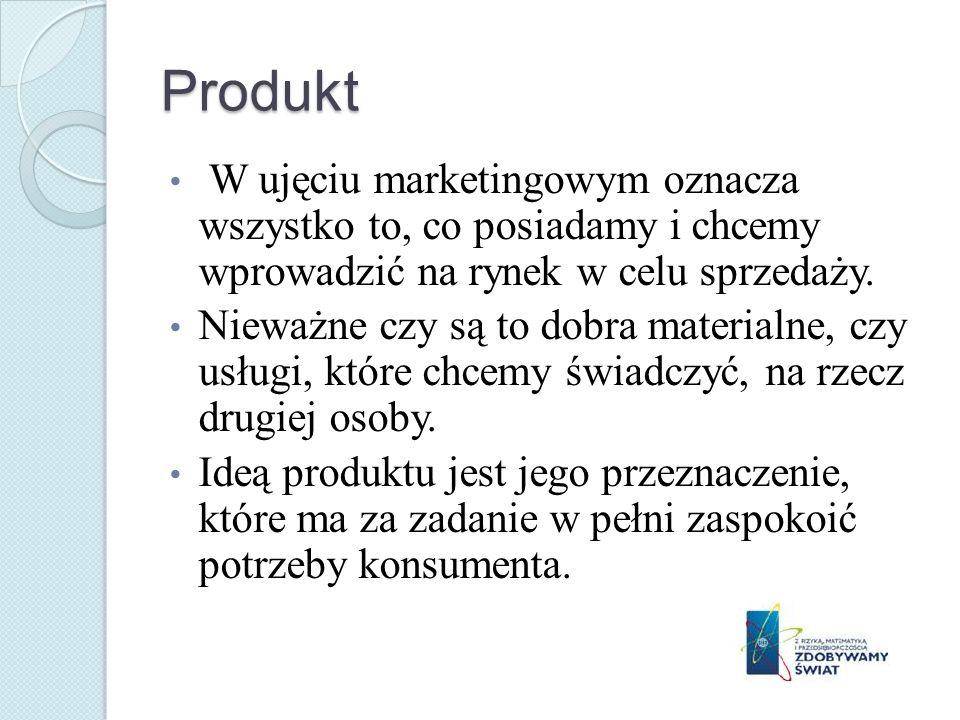 Produkt W ujęciu marketingowym oznacza wszystko to, co posiadamy i chcemy wprowadzić na rynek w celu sprzedaży.