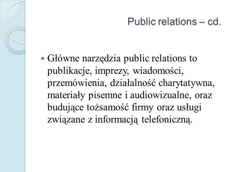 Public relations – cd.