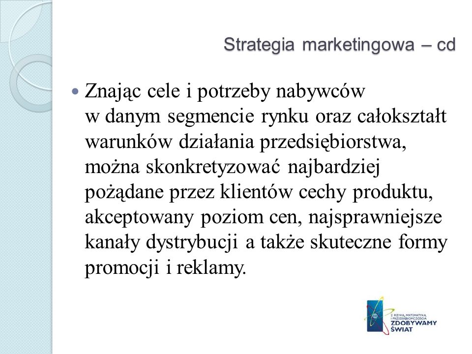 Strategia marketingowa – cd