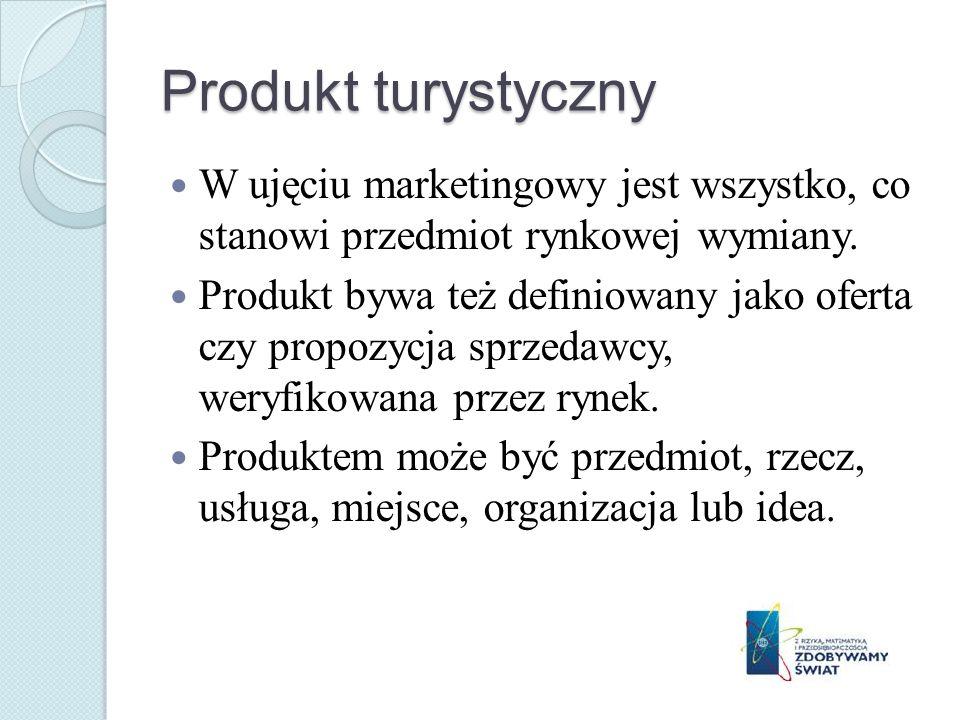 Produkt turystyczny W ujęciu marketingowy jest wszystko, co stanowi przedmiot rynkowej wymiany.