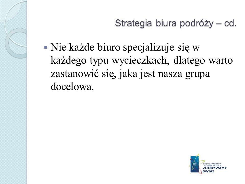 Strategia biura podróży – cd.