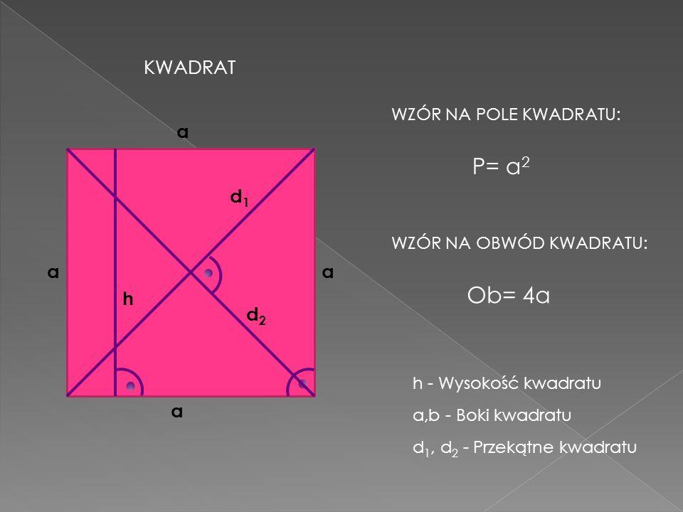 P= a2 Ob= 4a KWADRAT a d1 a a h d2 a WZÓR NA POLE KWADRATU: