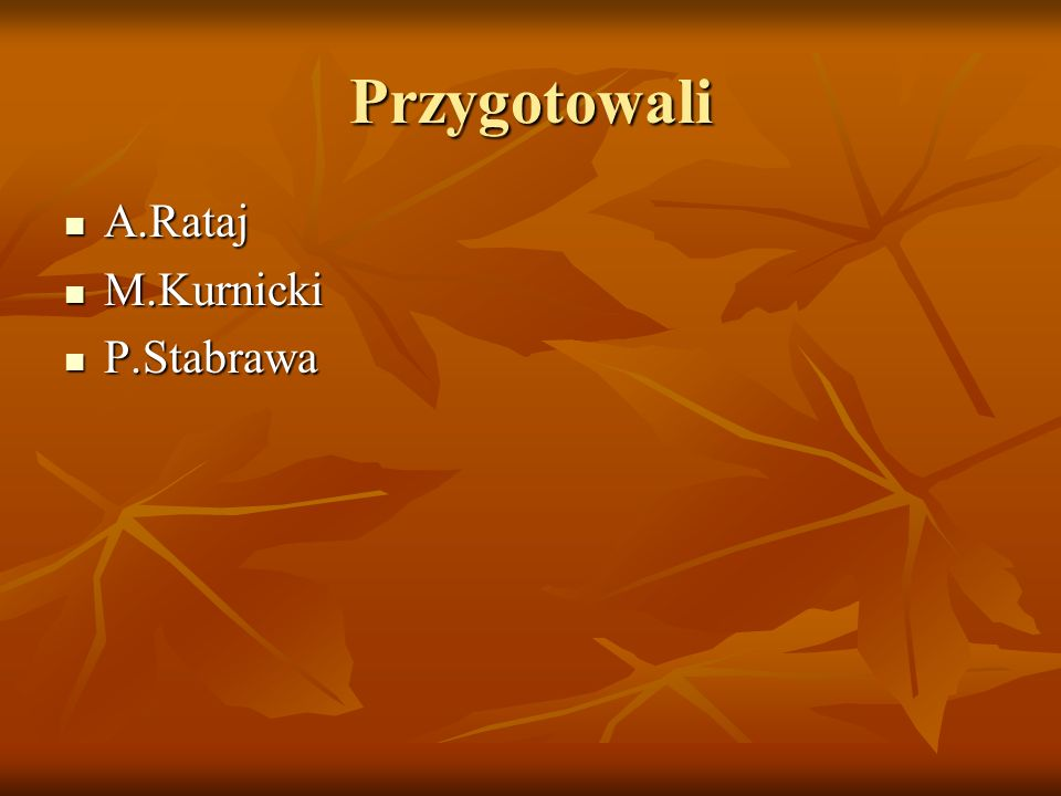 Przygotowali A.Rataj M.Kurnicki P.Stabrawa