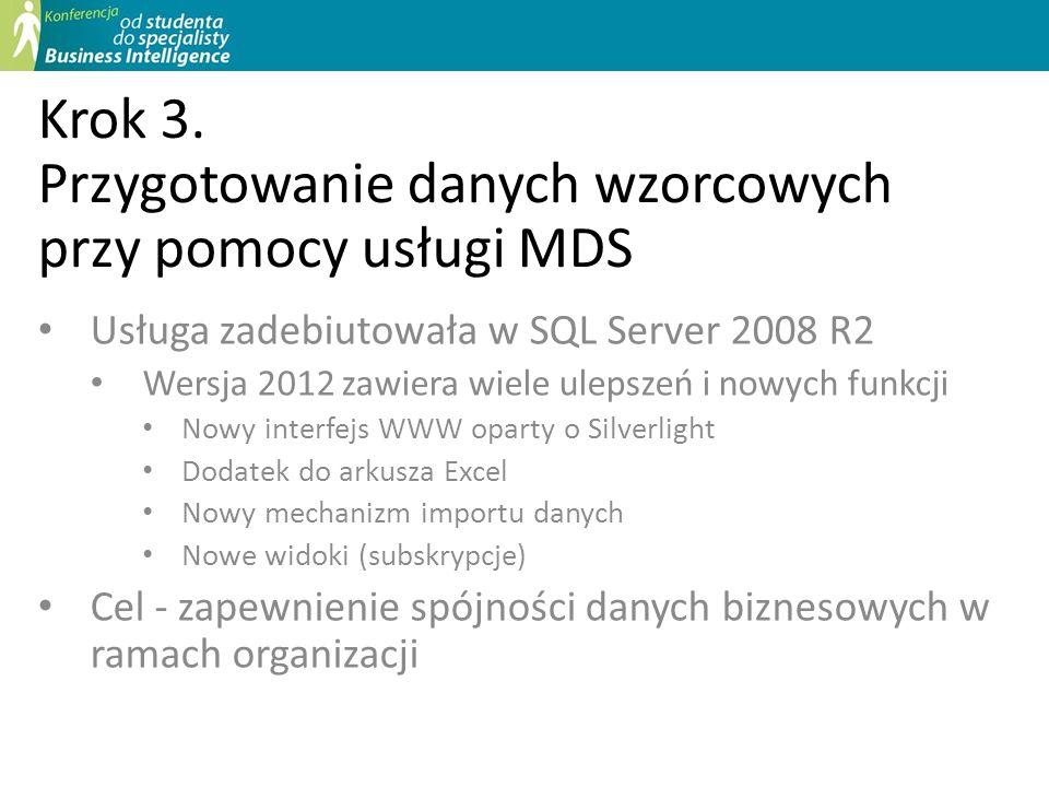 Krok 3. Przygotowanie danych wzorcowych przy pomocy usługi MDS