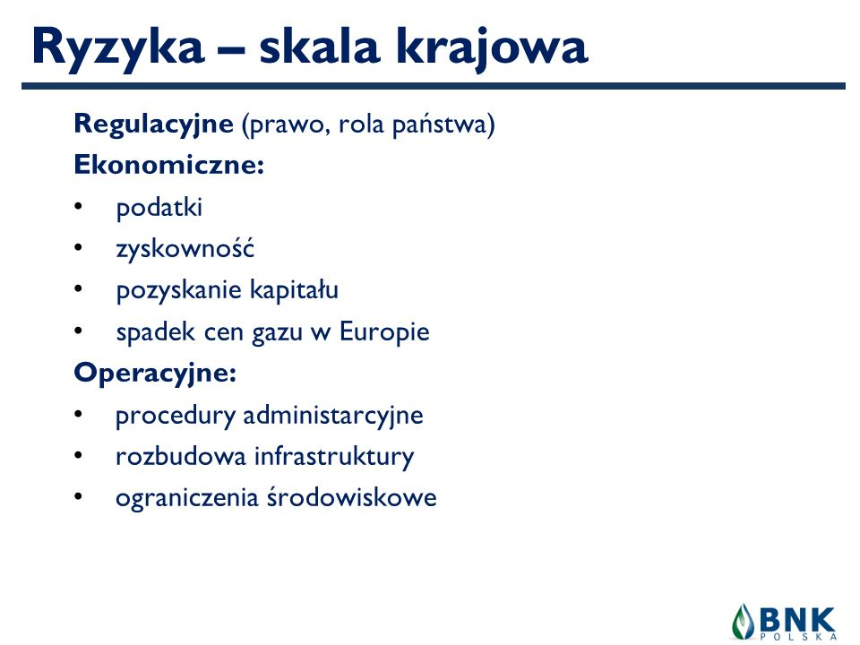 Ryzyka – skala krajowa Regulacyjne (prawo, rola państwa) Ekonomiczne: