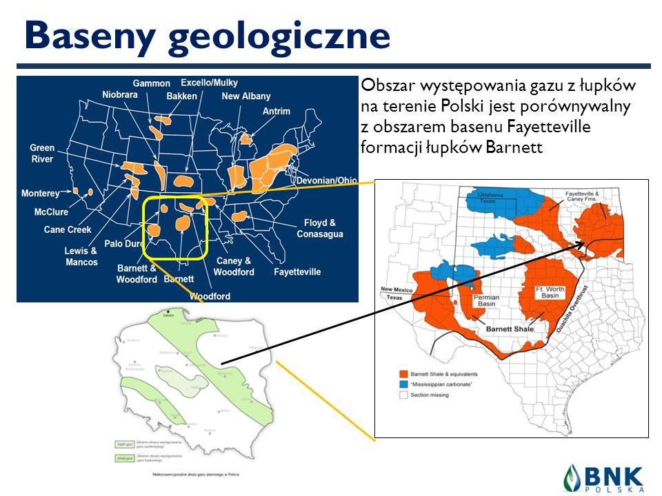 Baseny geologiczne Obszar występowania gazu z łupków