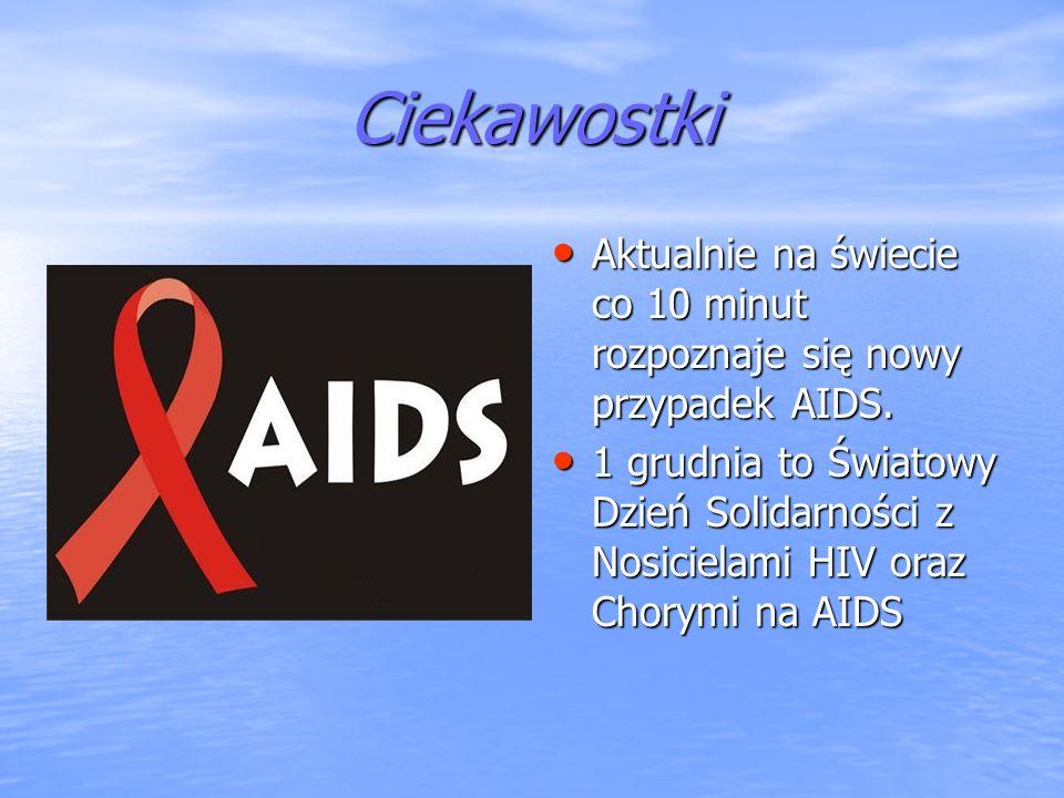 Ciekawostki Aktualnie na świecie co 10 minut rozpoznaje się nowy przypadek AIDS.