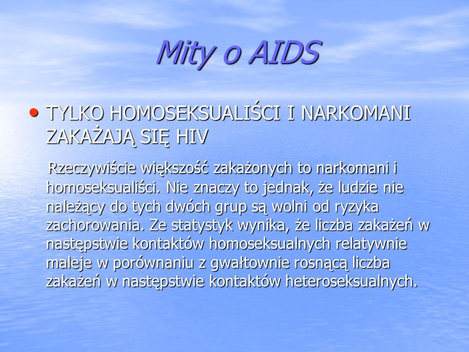 Mity o AIDS TYLKO HOMOSEKSUALIŚCI I NARKOMANI ZAKAŻAJĄ SIĘ HIV.