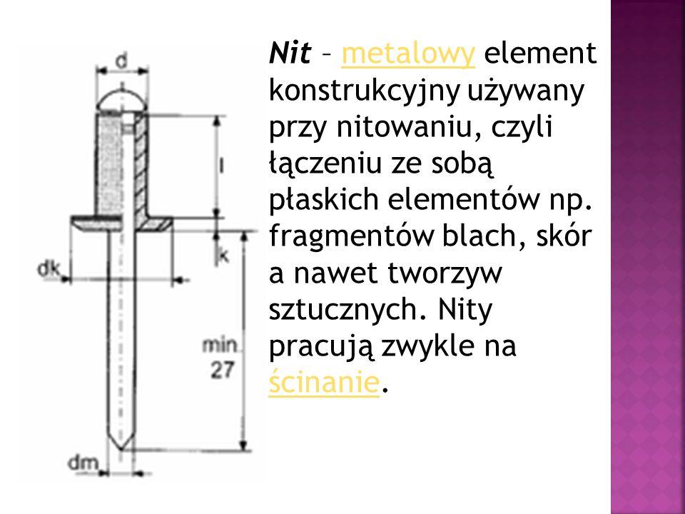 Nit – metalowy element konstrukcyjny używany przy nitowaniu, czyli łączeniu ze sobą płaskich elementów np.