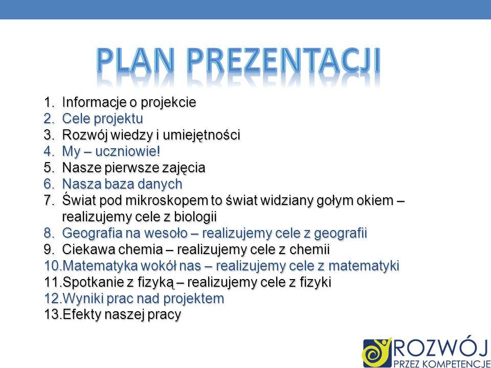 Plan prezentacji Informacje o projekcie Cele projektu