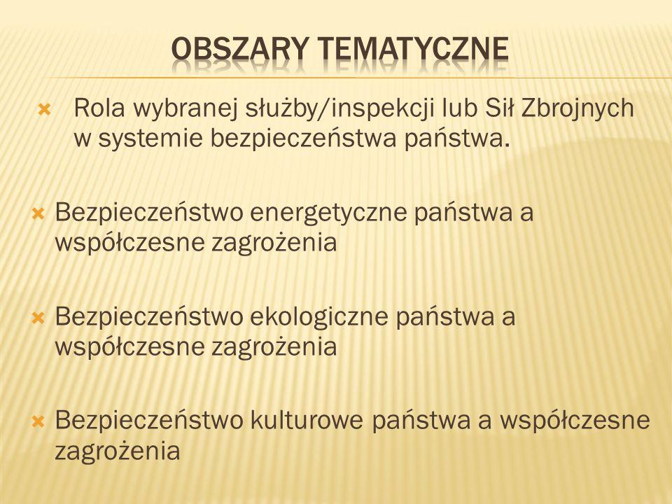 Obszary tematyczne Rola wybranej służby/inspekcji lub Sił Zbrojnych w systemie bezpieczeństwa państwa.