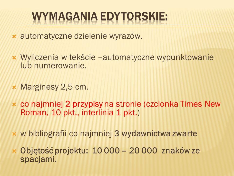 Wymagania edytorskie: