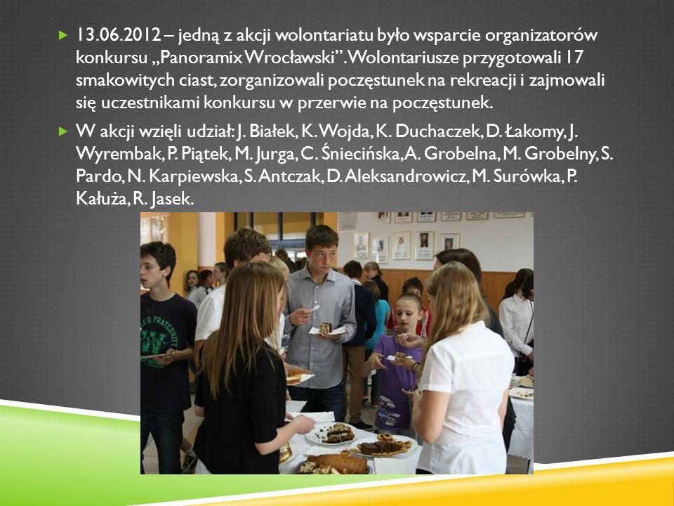"""13.06.2012 – jedną z akcji wolontariatu było wsparcie organizatorów konkursu """"Panoramix Wrocławski . Wolontariusze przygotowali 17 smakowitych ciast, zorganizowali poczęstunek na rekreacji i zajmowali się uczestnikami konkursu w przerwie na poczęstunek."""