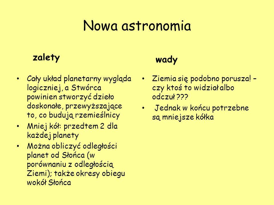 Nowa astronomia zalety wady