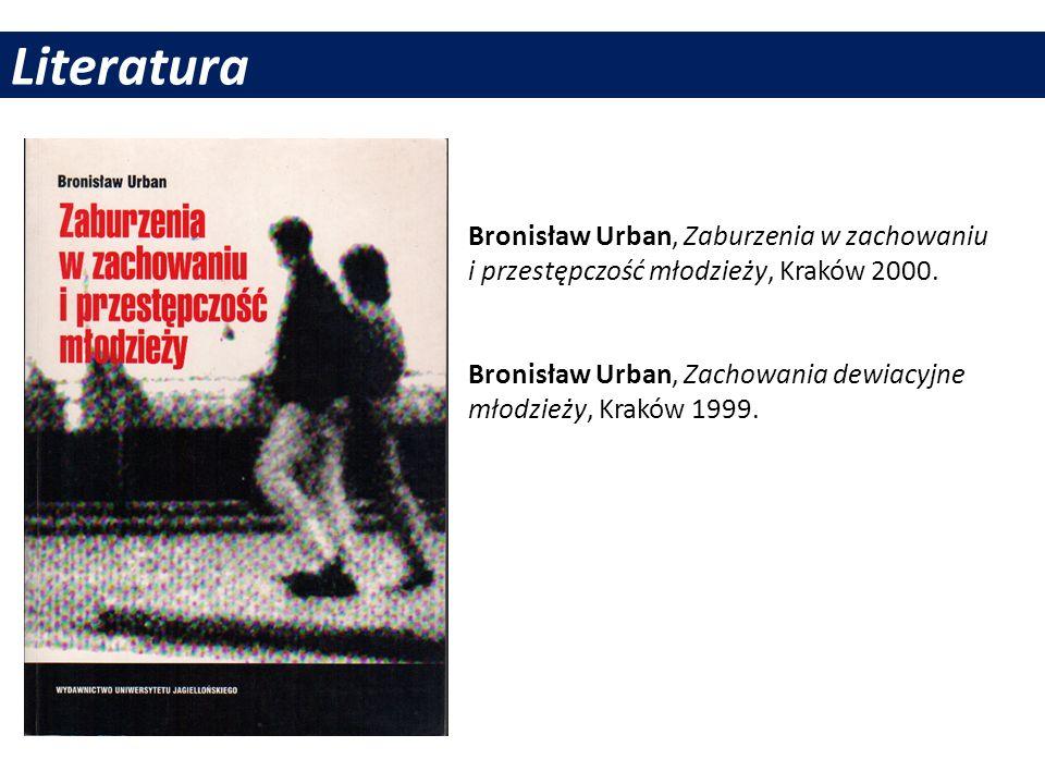 LiteraturaBronisław Urban, Zaburzenia w zachowaniu i przestępczość młodzieży, Kraków 2000.